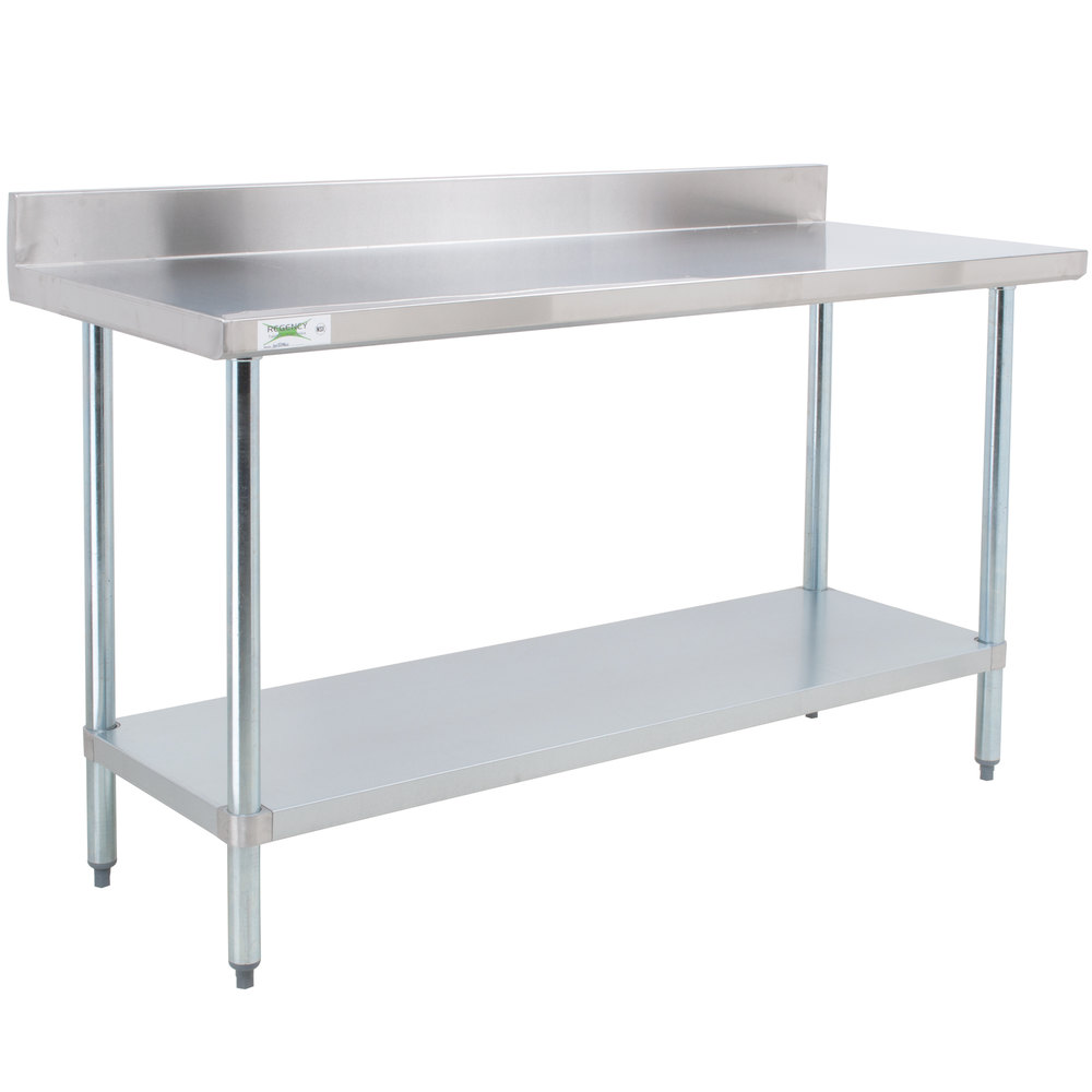 Regency 30 inch x 48 inch 18-Gauge 304 Stainless Steel Commercial Work Table with 4 inch Backsplash and Galvanized Undershelf