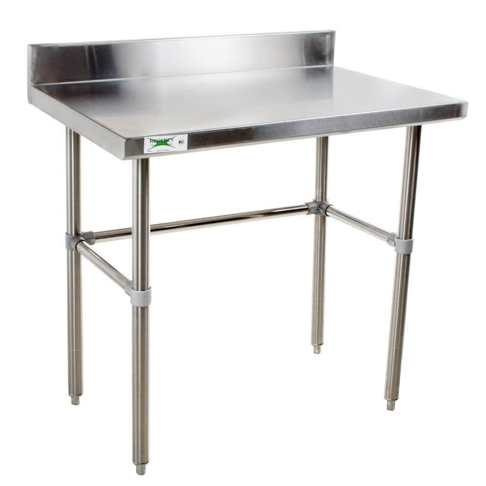 Regency 30 inch x 30 inch 16-Gauge 304 Stainless Steel Commercial Open Base Work Table with 4 inch Backsplash