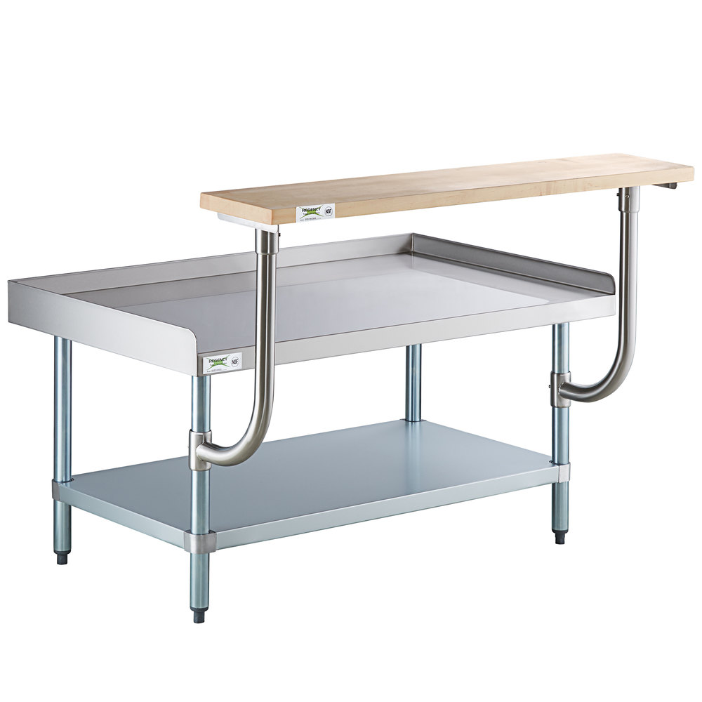 Regency 30 inch x 48 inch 16-Gauge Stainless Steel Equipment Stand with Galvanized Undershelf and 10 inch Wooden Adjustable Cutting Board