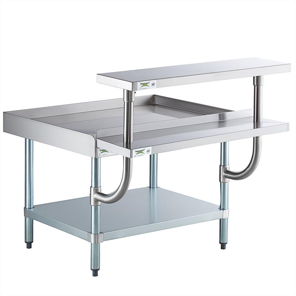 Regency 30 inch x 36 inch 16-Gauge Stainless Steel Equipment Stand with Galvanized Undershelf, 10 inch Plate Shelf, and 10 inch Stainless Steel Adjustable Work Surface
