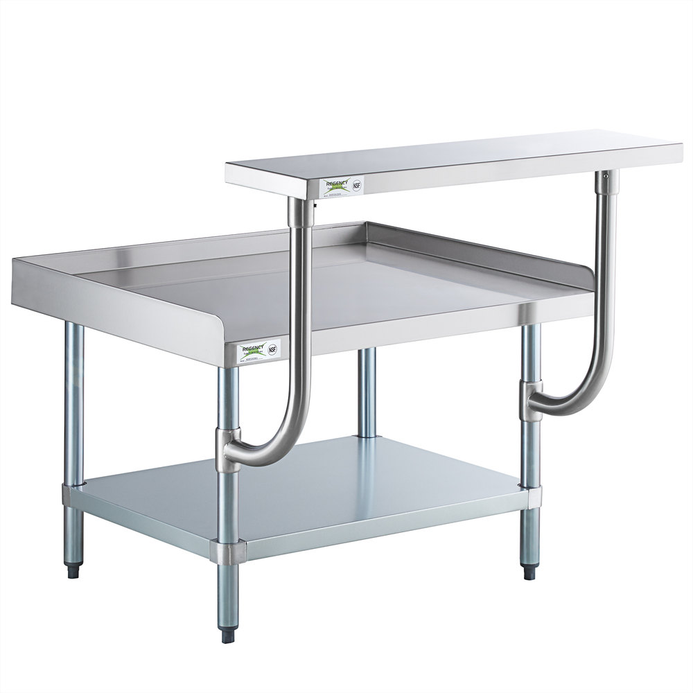 Regency 30 inch x 36 inch 16-Gauge Stainless Steel Equipment Stand with Galvanized Undershelf and 10 inch Stainless Steel Adjustable Work Surface