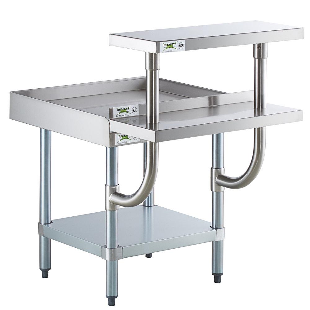 Regency 24 inch x 24 inch 16-Gauge Stainless Steel Equipment Stand with Galvanized Undershelf, 10 inch Plate Shelf, and 10 inch Stainless Steel Adjustable Work Surface