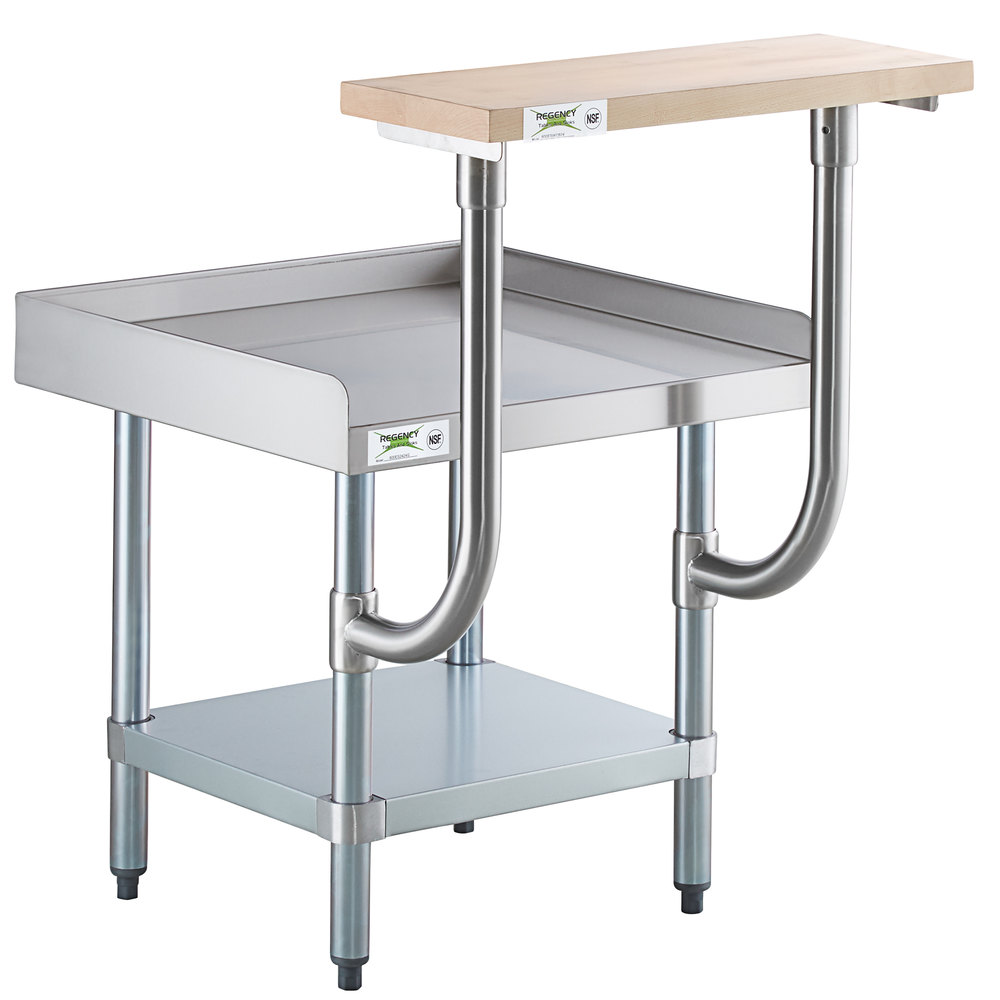 Regency 24 inch x 24 inch 16-Gauge Stainless Steel Equipment Stand with Galvanized Undershelf and 10 inch Wooden Adjustable Cutting Board
