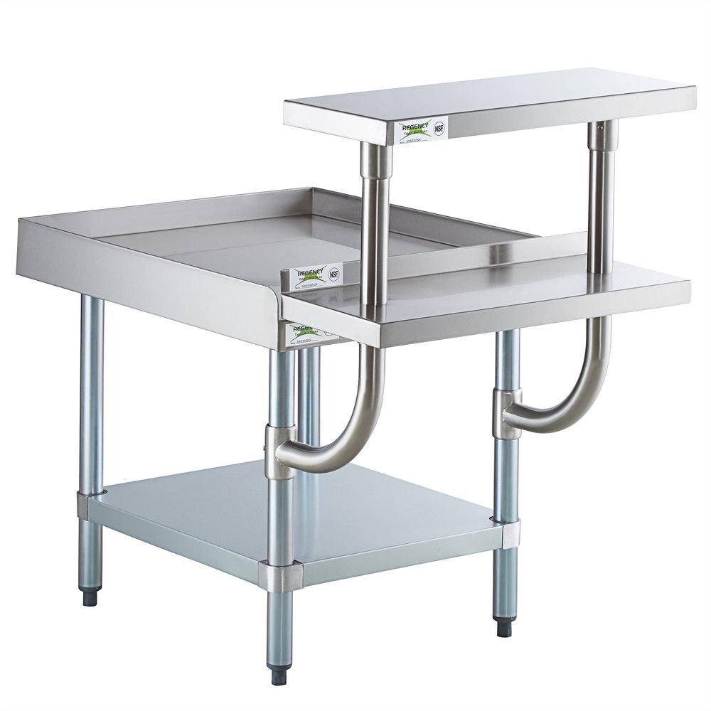Regency 30 inch x 24 inch 16-Gauge Stainless Steel Equipment Stand with Galvanized Undershelf, 10 inch Plate Shelf, and 10 inch Stainless Steel Adjustable Work Surface