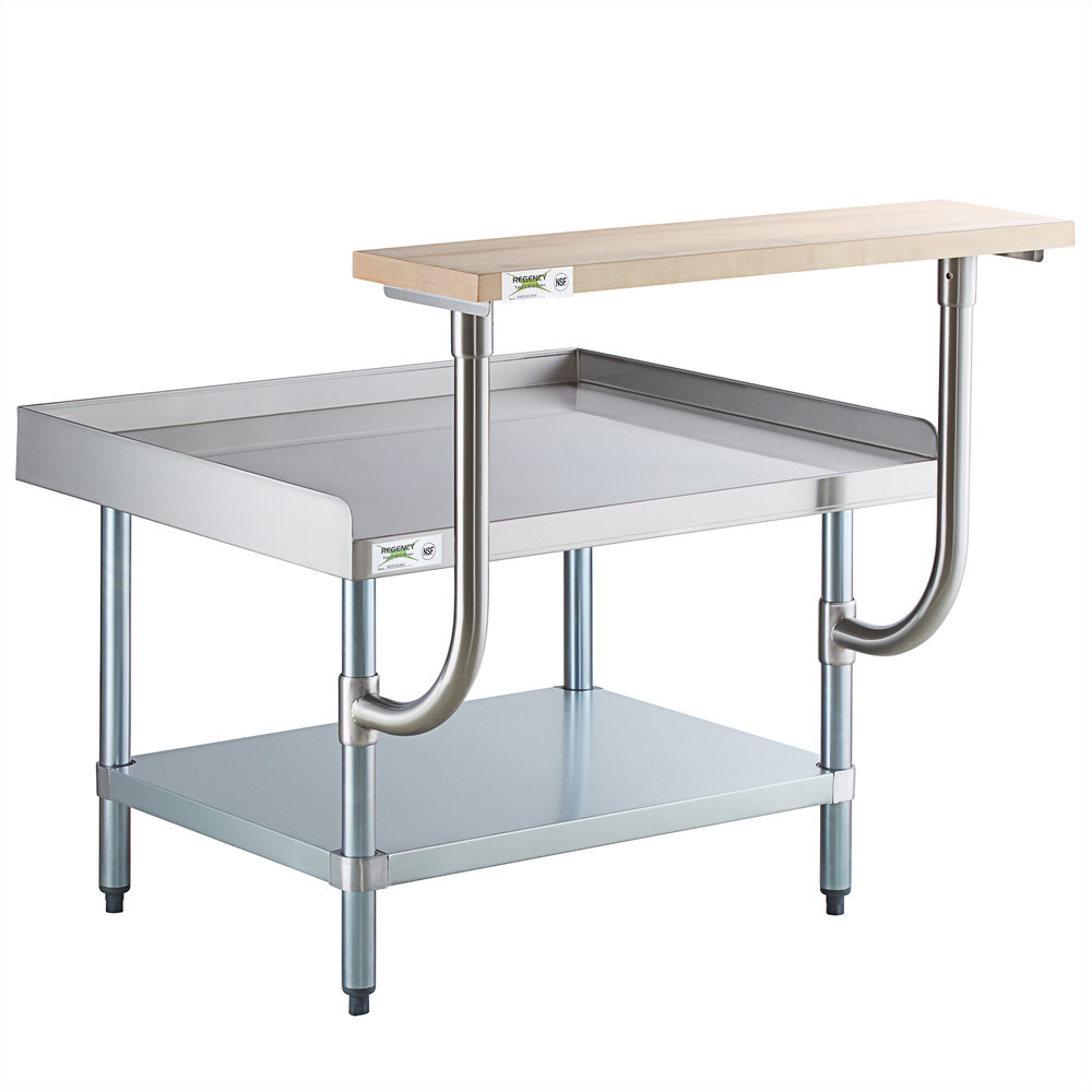 Regency 30 inch x 36 inch 16-Gauge Stainless Steel Equipment Stand with Galvanized Undershelf and 10 inch Wooden Adjustable Cutting Board