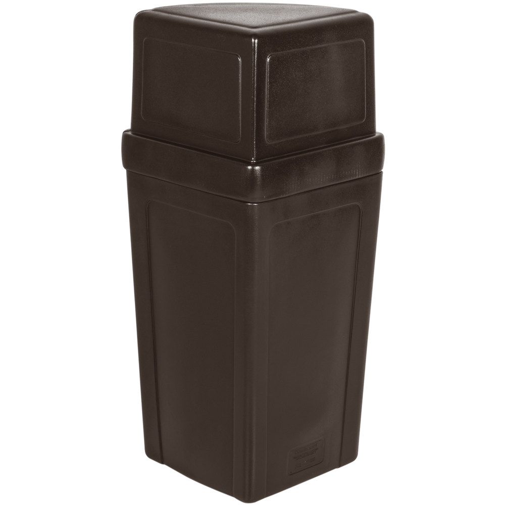 Continental 8325bn corner 39 round 21 gallon brown corner trash can with dome lid - Cool wastebaskets ...