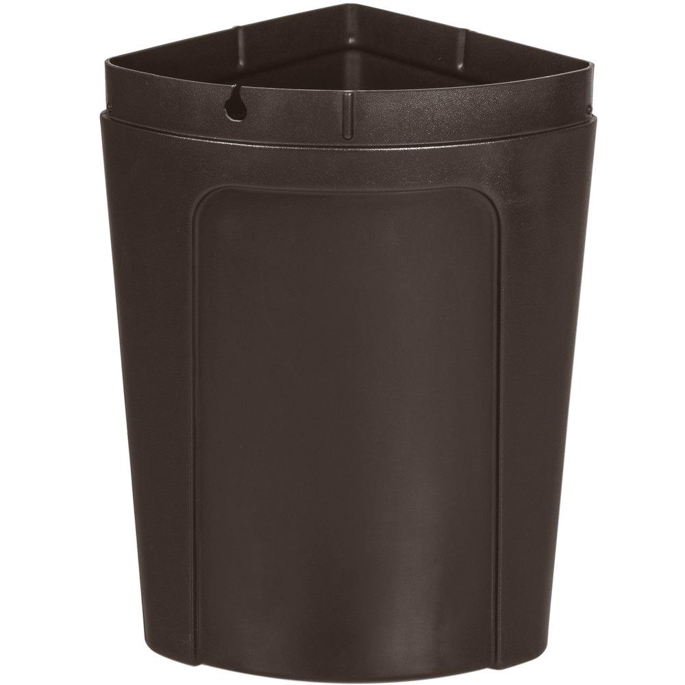 Continental 8325bn corner 39 round 21 gallon brown corner trash can with dome lid - Corner wastebasket ...