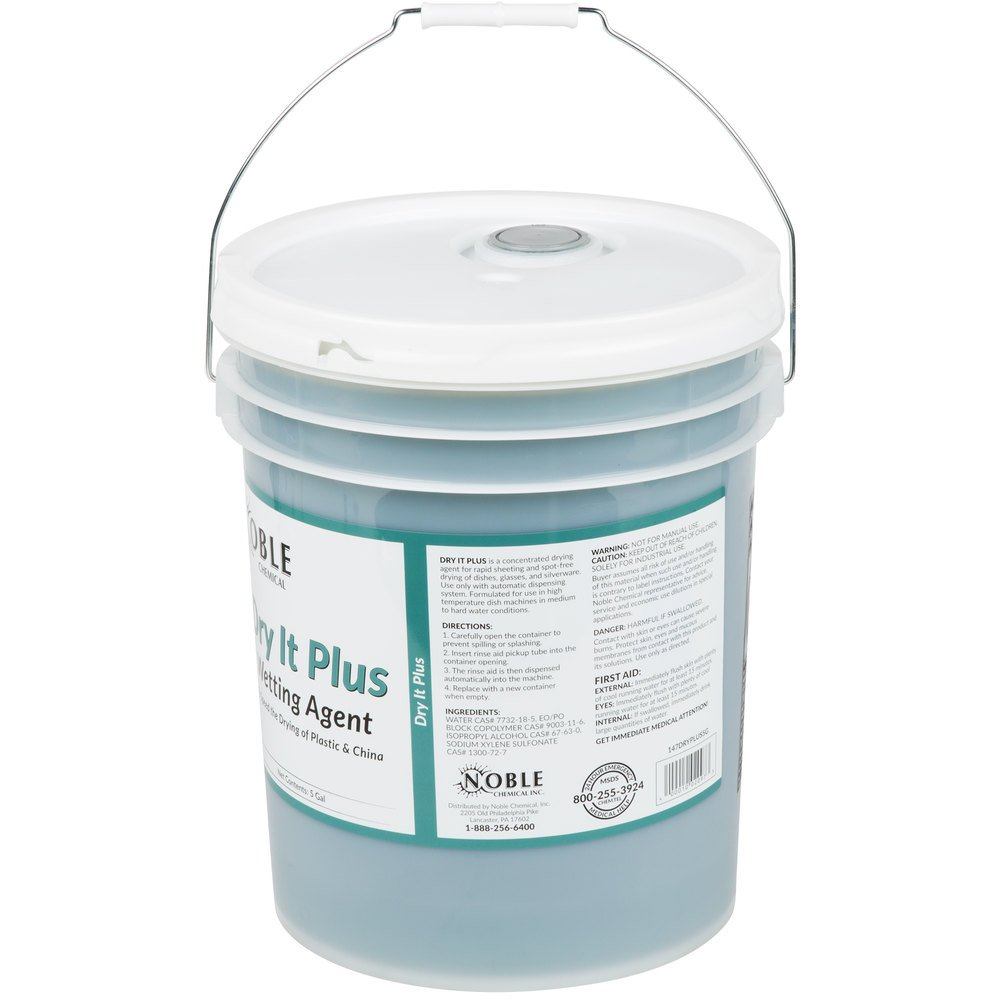 Noble Chemical 5 Gallon Dry It Plus Rinse Aid For High