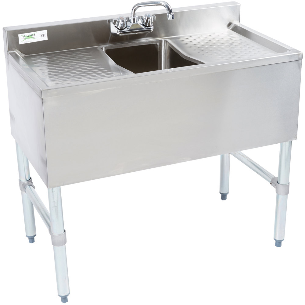 Regency 1 Bowl Underbar Sink with Faucet and Two Drainboards - 36 inch x 18 3/4 inch