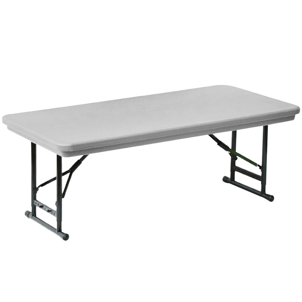 Correll Adjustable Height Folding Table, 30 Inch X 72 Inch Plastic, Gray    Short