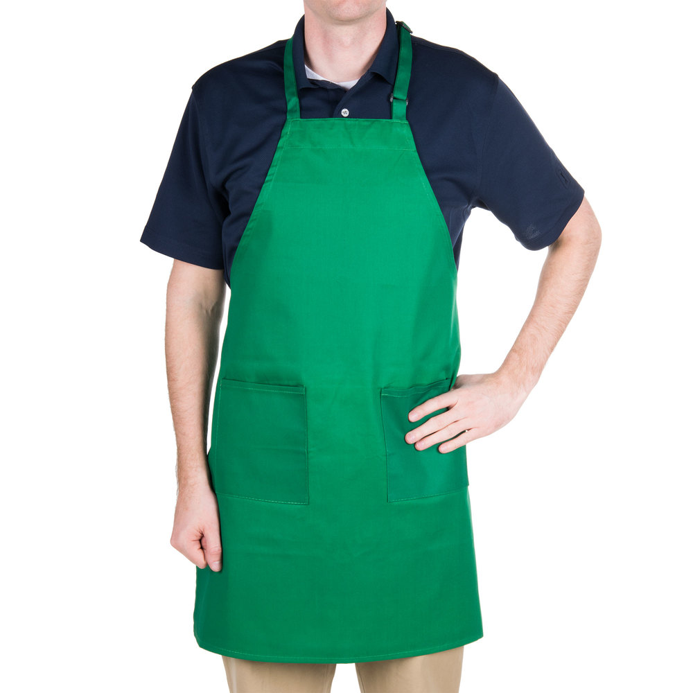 "Green 2-Pocket Bib Apron with Adjustable ""D"" Ring Neck ..."