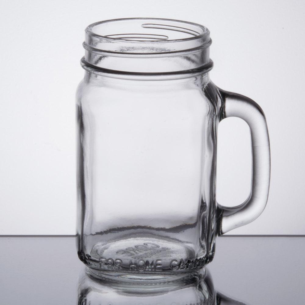 Mason jars with handles core 16 oz mason jar glasses mugs 12 case - Mason jar goblets ...