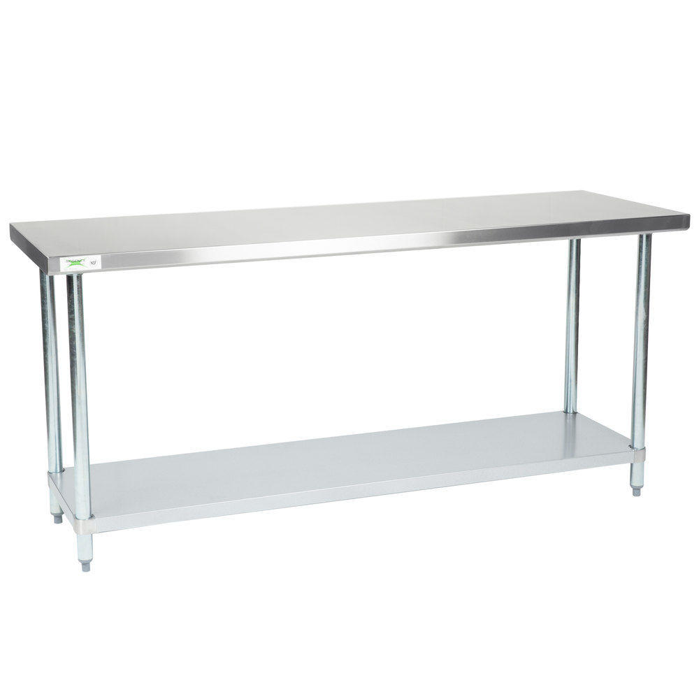 Regency 24 inch x 72 inch 18-Gauge 304 Stainless Steel Commercial Work Table with Galvanized Legs and Undershelf