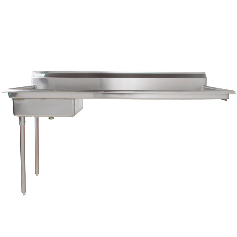 Left Drainboard Regency 72 inch 16-Gauge Stainless Steel Soiled / Dirty Undercounter Dishtable