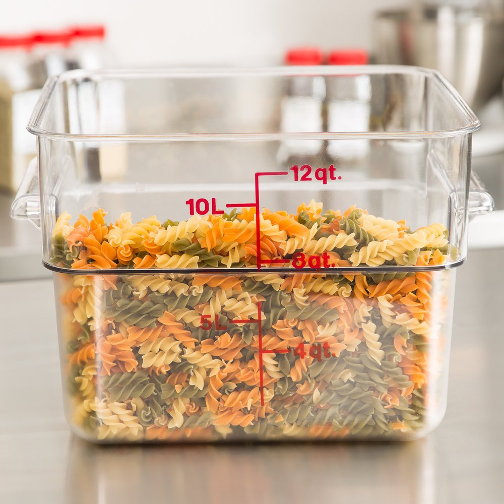 cambro 12sfscw135 12 qt clear square polycarbonate food storage container with red gradations. Black Bedroom Furniture Sets. Home Design Ideas