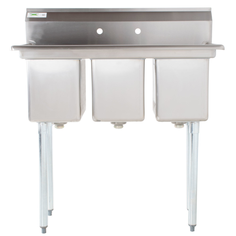Exceptionnel Regency 39 Inch 16 Gauge Stainless Steel Three Compartment Commercial Sink  Without Drainboards   10 ...