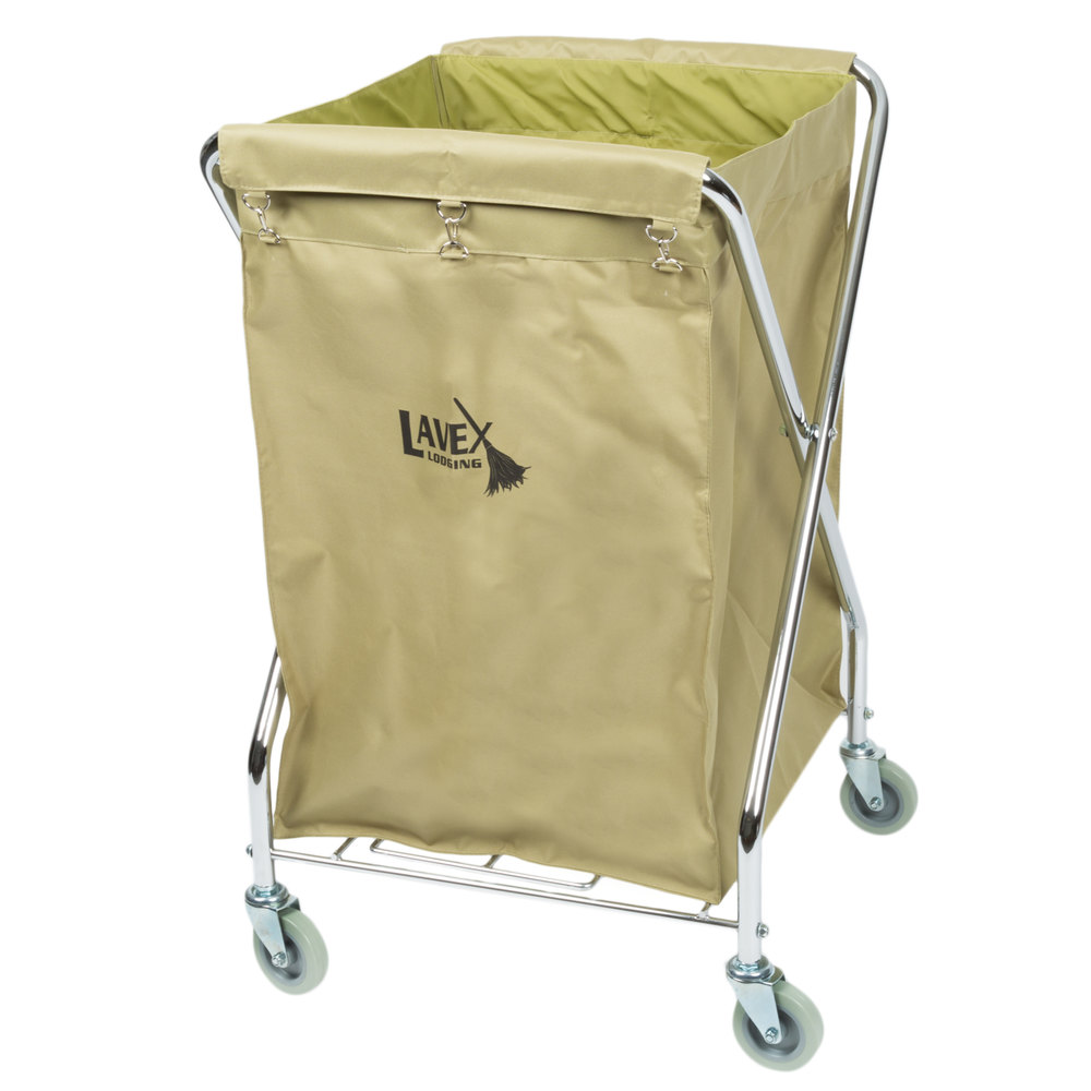 Lavex Laundry Cart, 10 Bushel Metal X-Frame Folding Cart