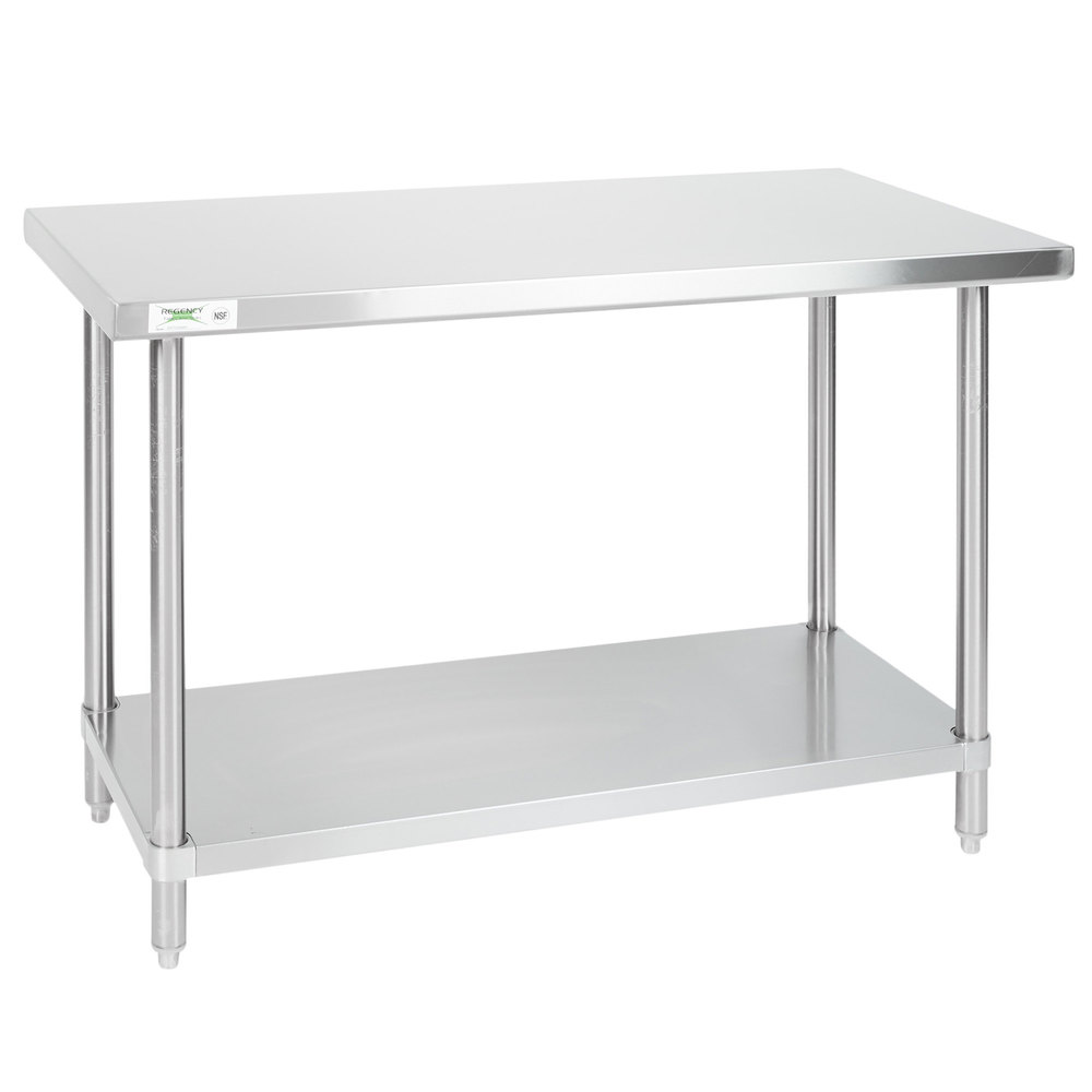 Regency 24 inch x 48 inch 16-Gauge 304 Stainless Steel Commercial Work Table with Undershelf