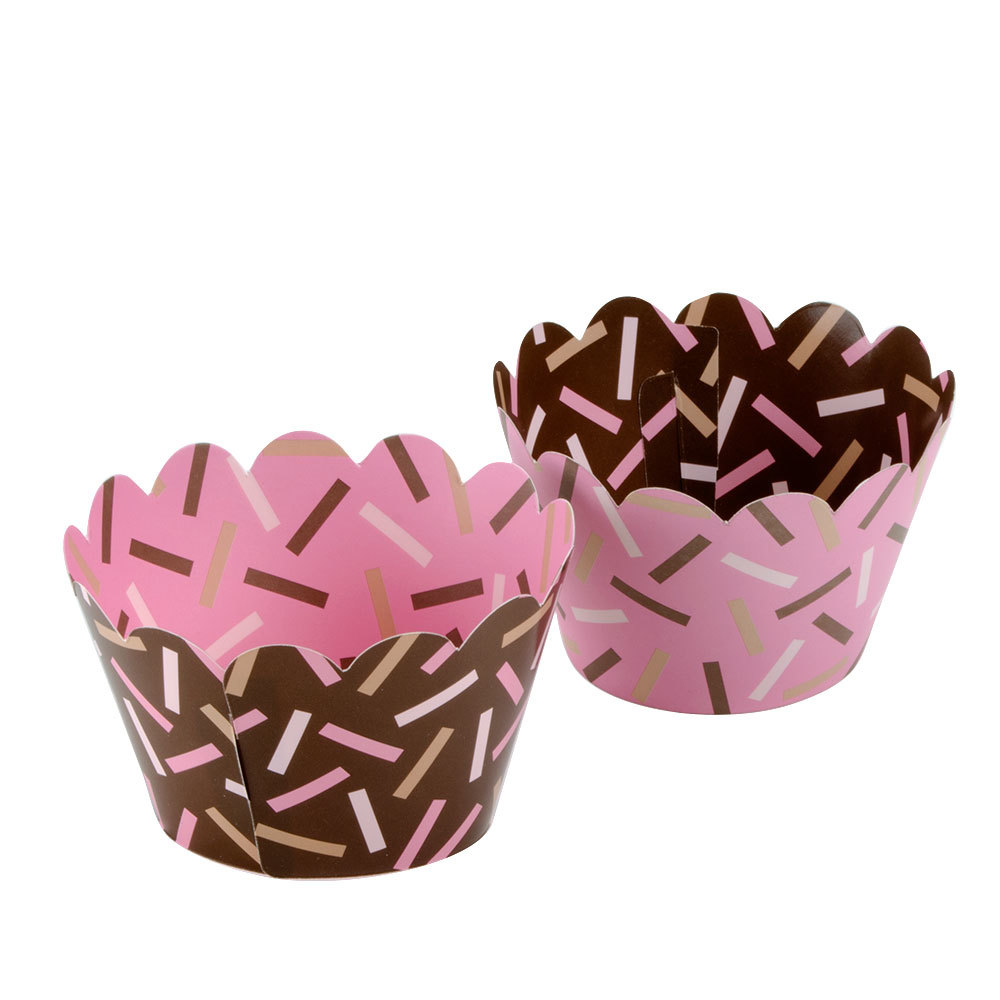 Hoffmaster 611132 Chocolate Brown / Pink Sprinkles Reversible Cupcake  Wrappers   250/Case ...