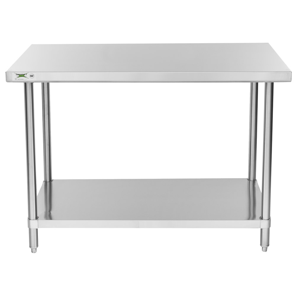 Regency 30 Inch X 48 Inch 16 Gauge 304 Stainless Steel Commercial Work Table  With ...