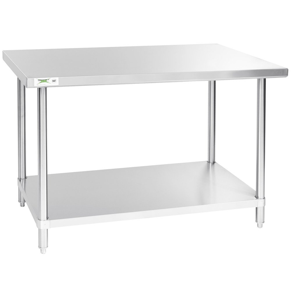 Regency 30 inch x 48 inch 16-Gauge 304 Stainless Steel Commercial Work Table with Undershelf