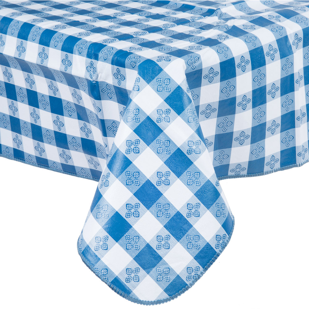 52 Inch X 52 Inch Blue Gingham Vinyl Table Cover With Flannel Back ...