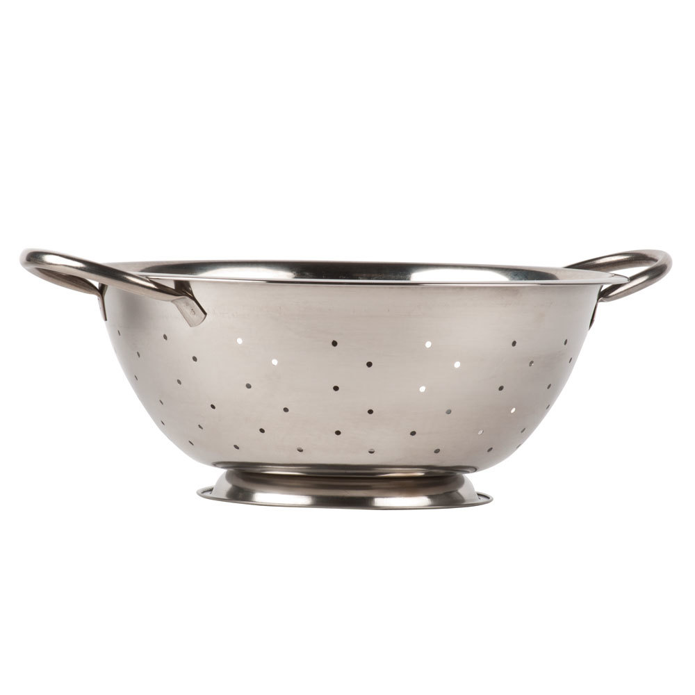 Colander: 5 Qt. Stainless Steel Colander With Base And Handles
