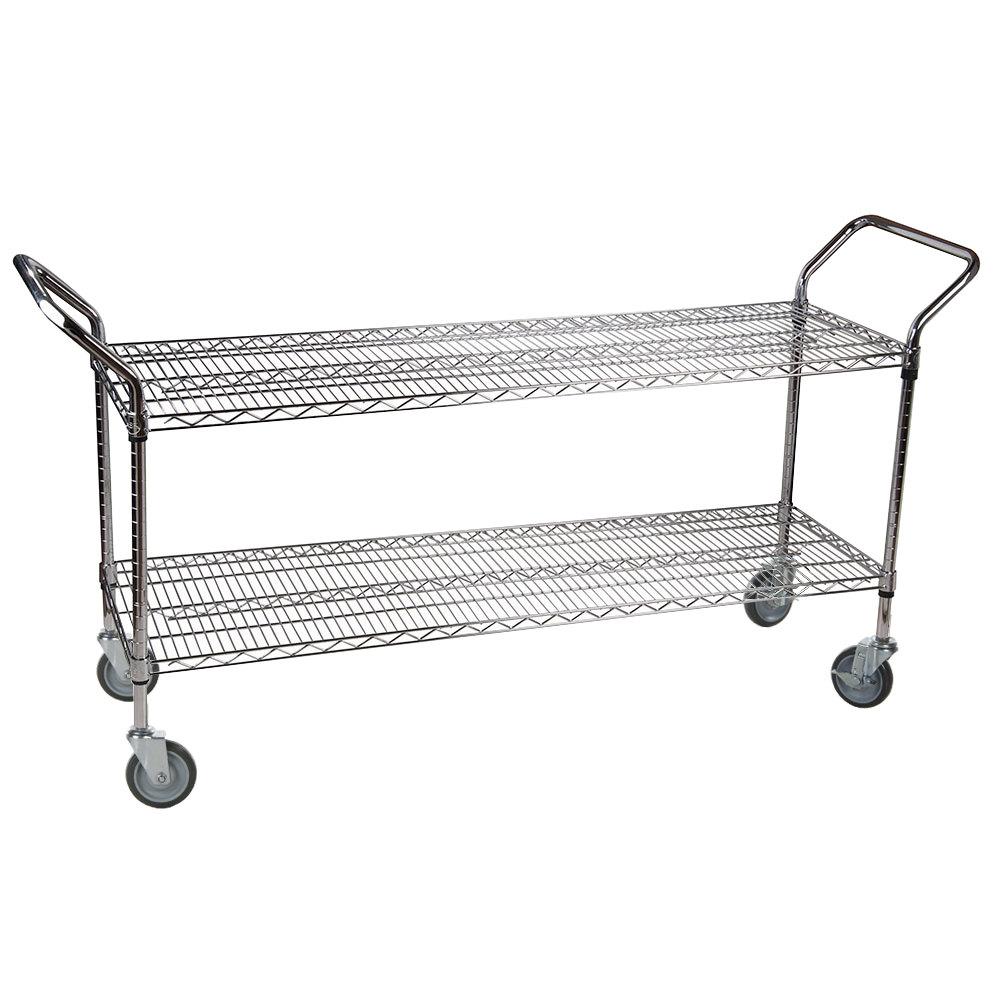 Regency 24 inch x 60 inch Two Shelf Chrome Heavy Duty Utility Cart