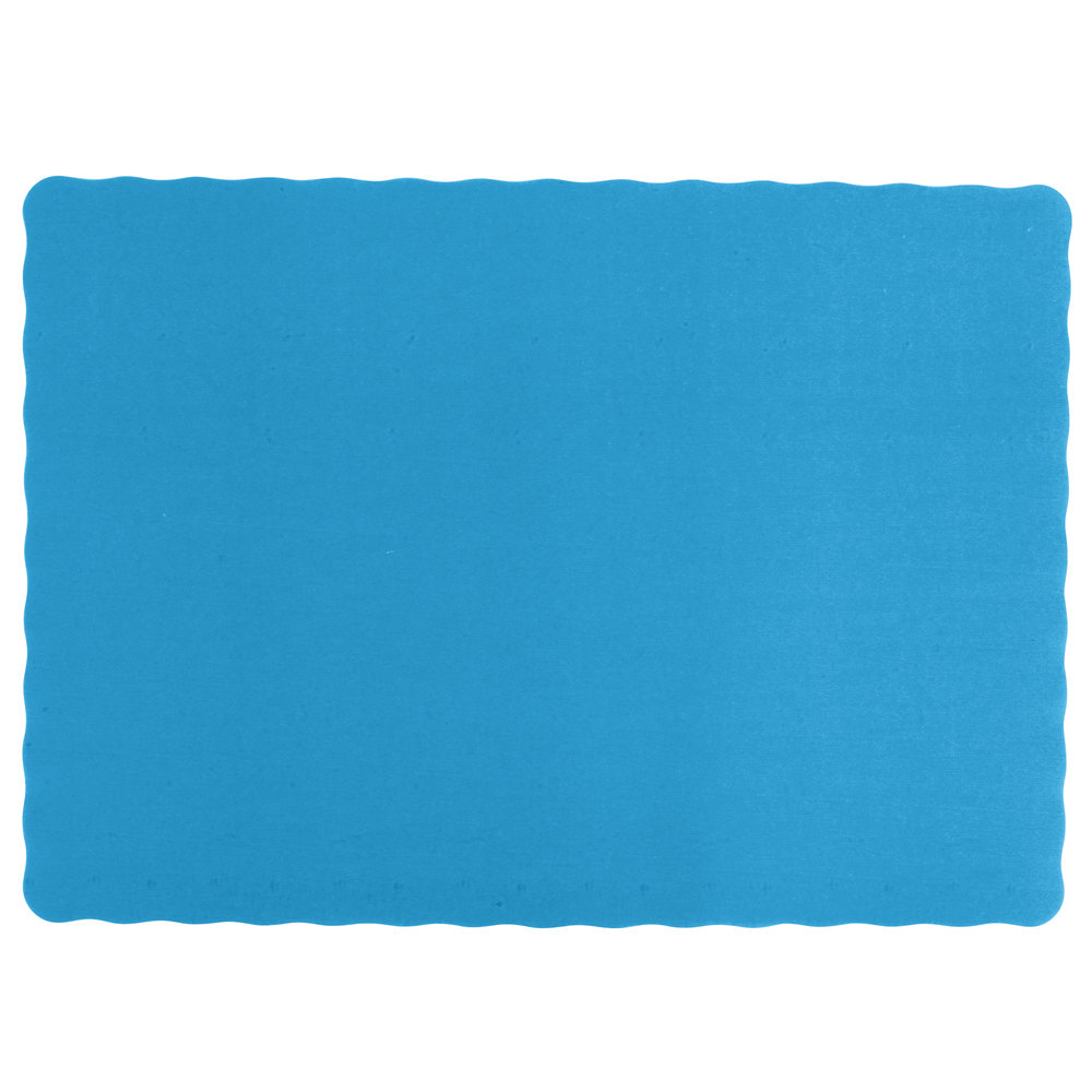 10 Inch X 14 Navy Blue Colored Paper Placemat With Scalloped Edge 1000