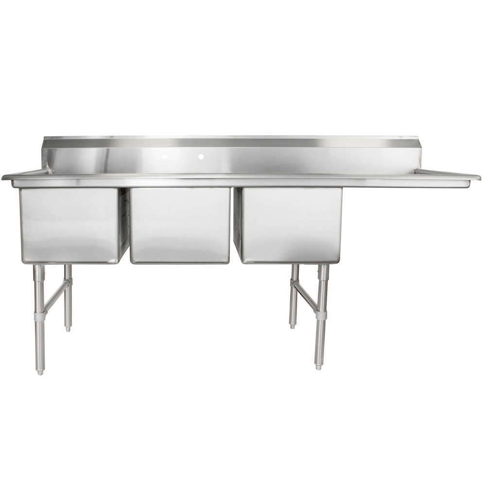 right drainboard regency 84 12 inch 16gauge stainless steel three compartment commercial