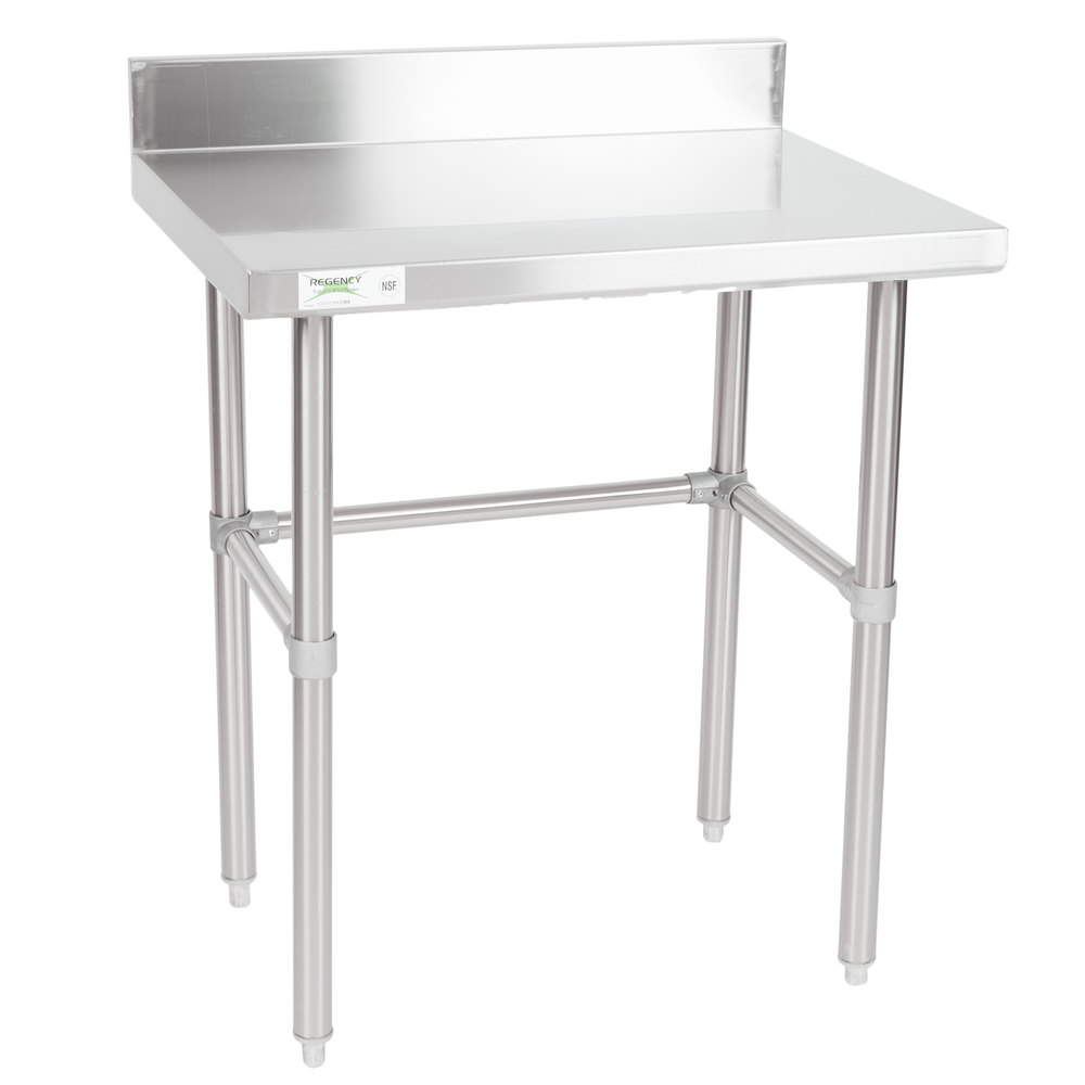 Regency 24 inch x 30 inch 16-Gauge 304 Stainless Steel Commercial Open Base Work Table with 4 inch Backsplash