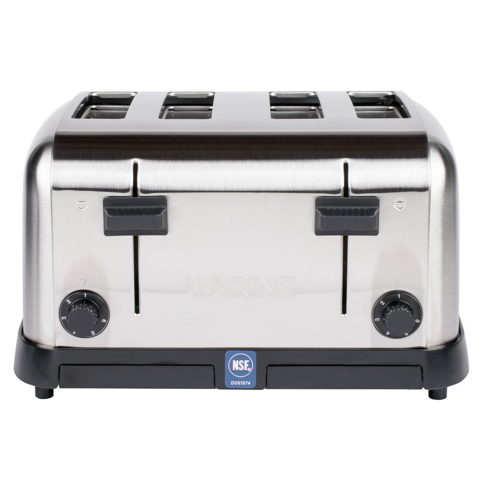 black and silver four slot pop-up toaster with NSF tag