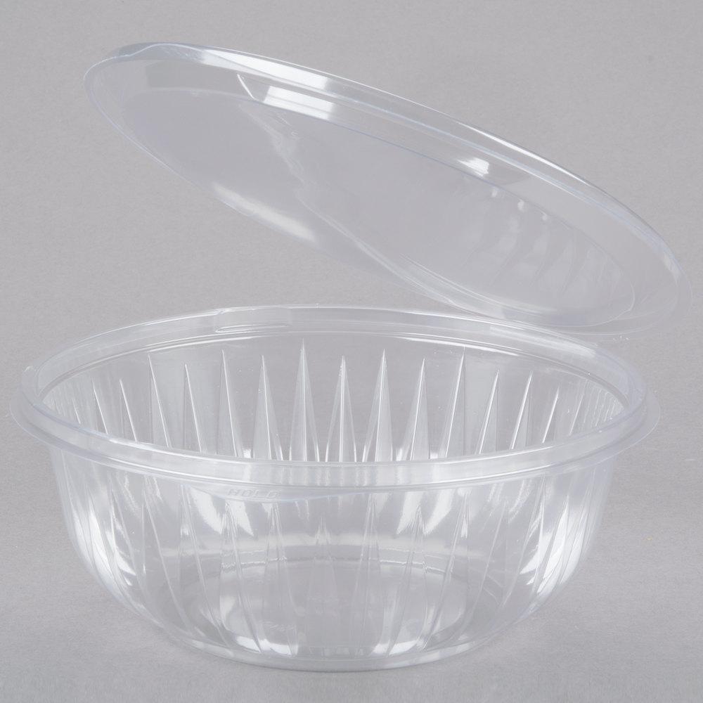 Dart C32hbf Presentabowls 32 Oz Clear Hinged Plastic Bowl