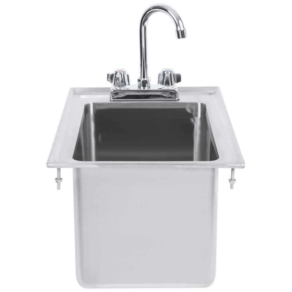 Regency 10 inch x 14 inch x 10 inch 16-Gauge Stainless Steel One Compartment Drop-In Sink with 8 inch Gooseneck Faucet