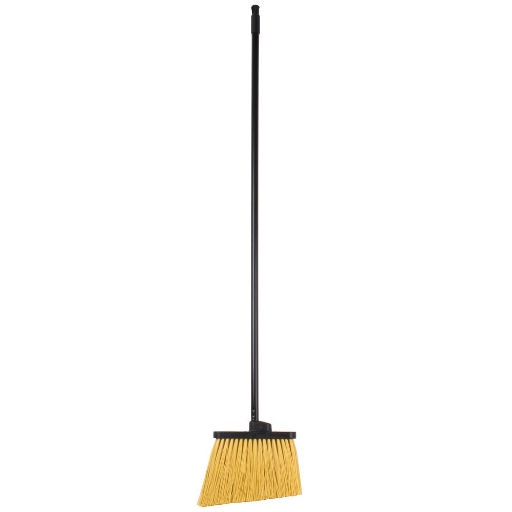 Black heavy duty restaurant broom with unflagged bristles