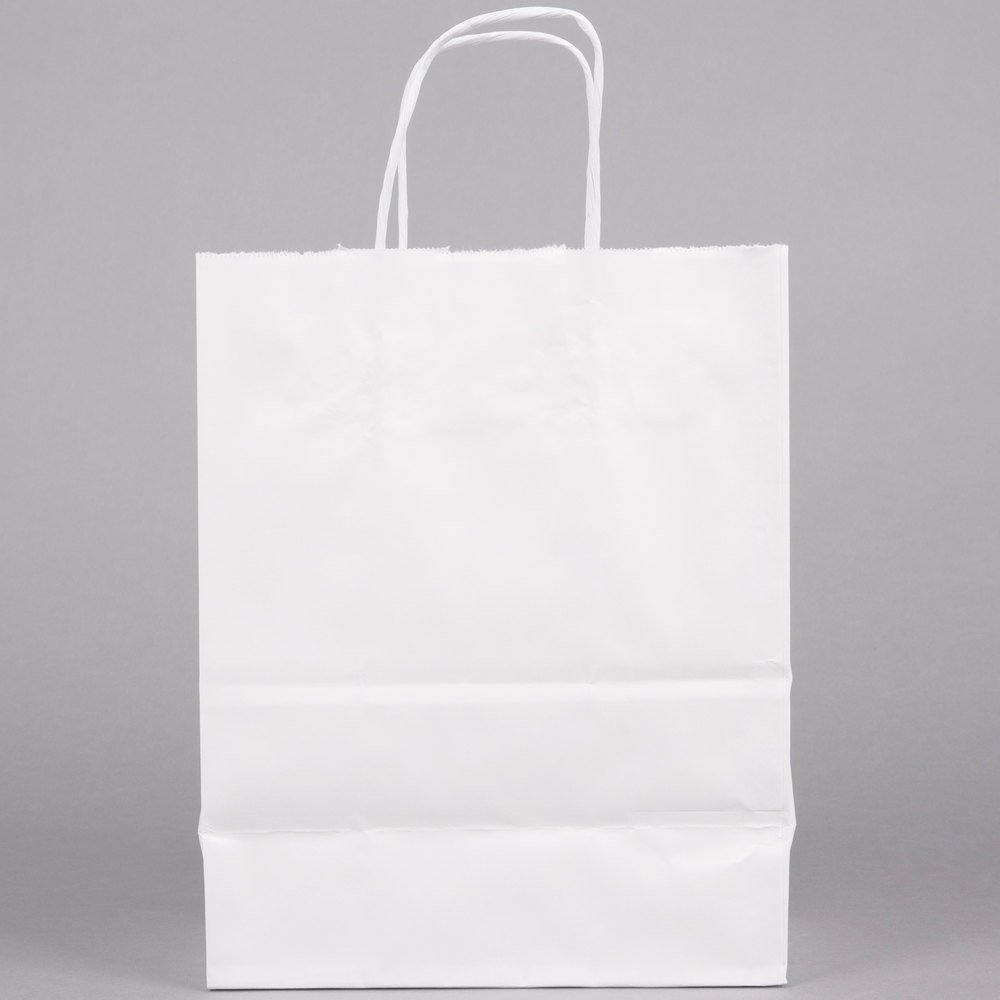 8 Quot X 4 1 2 Quot X 10 1 4 Quot White Shopping Bag With Handles
