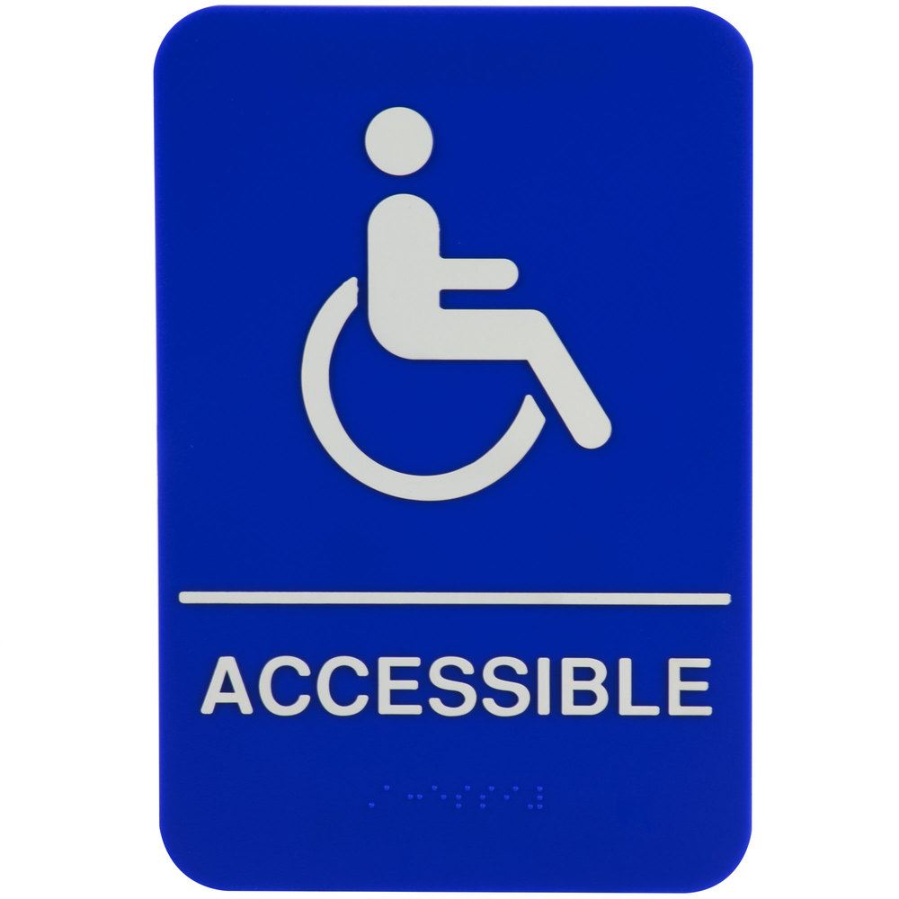Lovely ADA Handicap Accessible Sign With Braille   Blue And White, 9 Inch X 6 Inch  ...