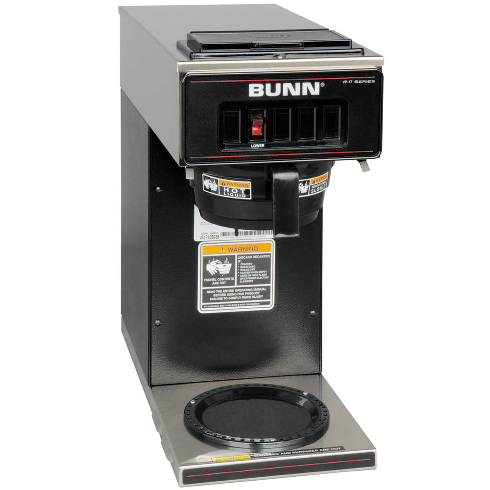 Bunn Coffee Maker Dealers : Bunn 13300.0011 VP17-1 BLK Black Pourover Coffee Brewer with 1 Lower Warmer - 120V