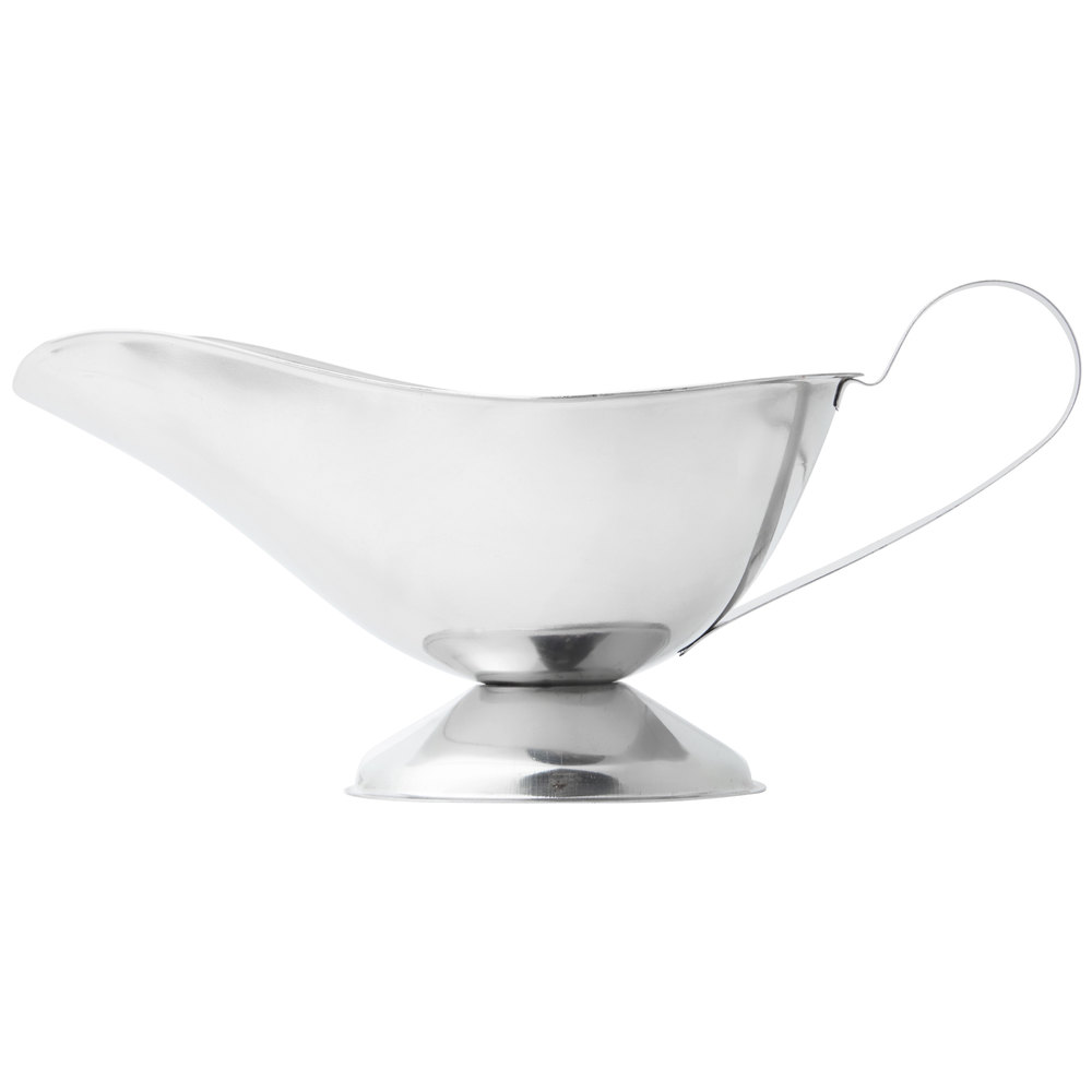 Stainless steel gravy boat with oval shape and handle