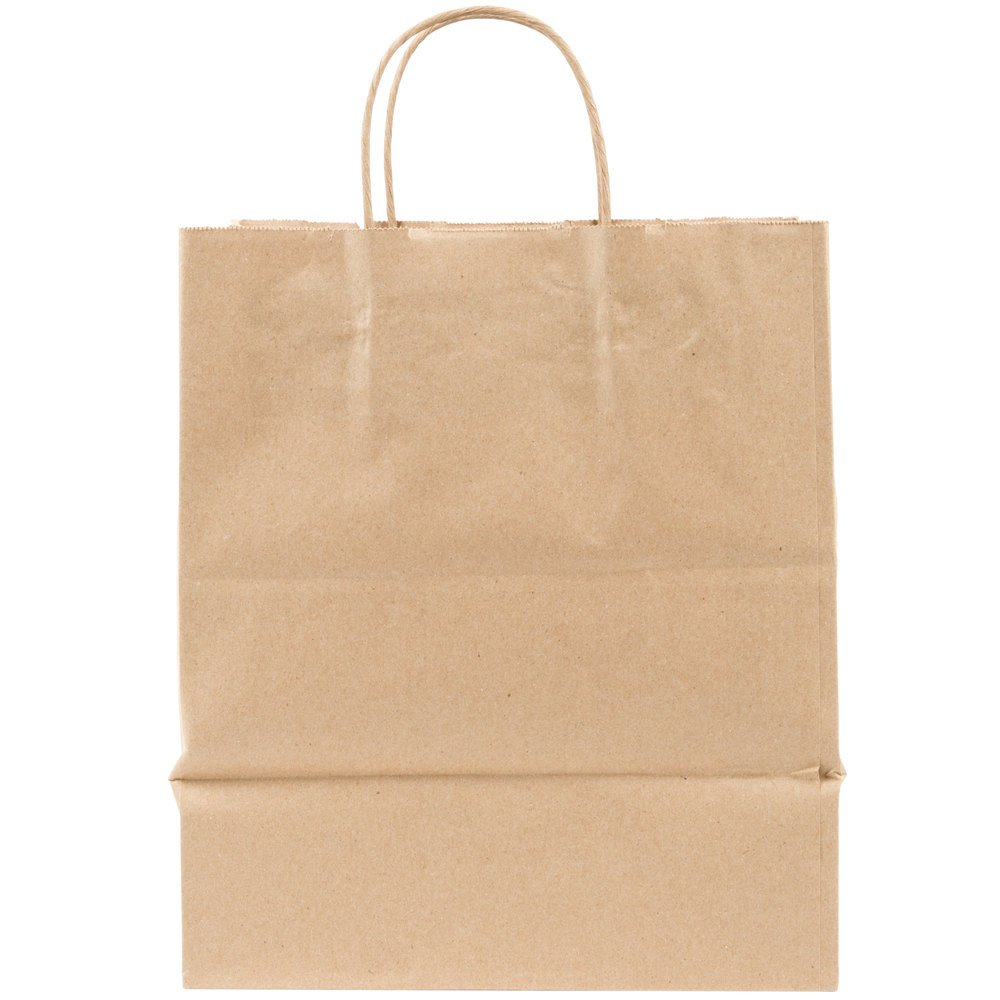 Duro bistro natural kraft paper shopping bag with handles for Handles for bags craft