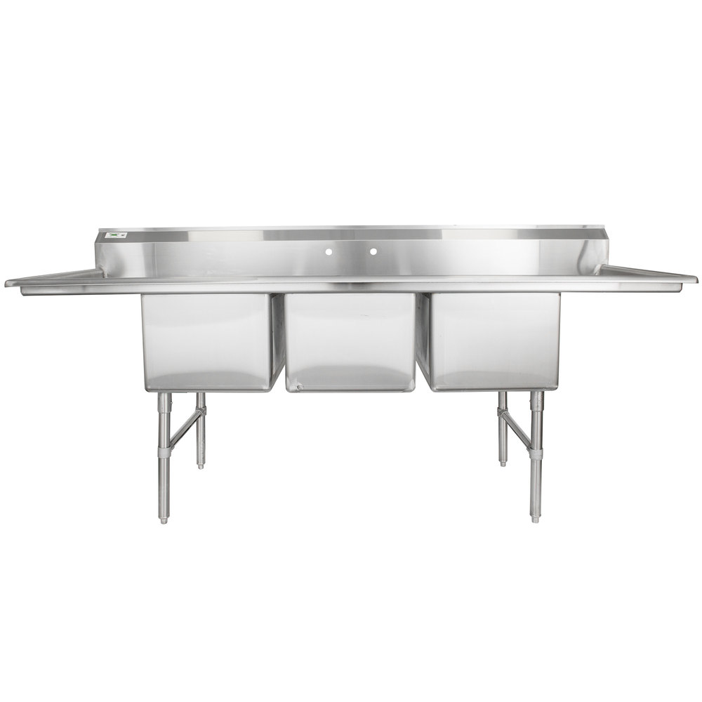 Regency 94 Inch 16 Gauge Stainless Steel Three Compartment Commercial Sink With 2 Drainboards