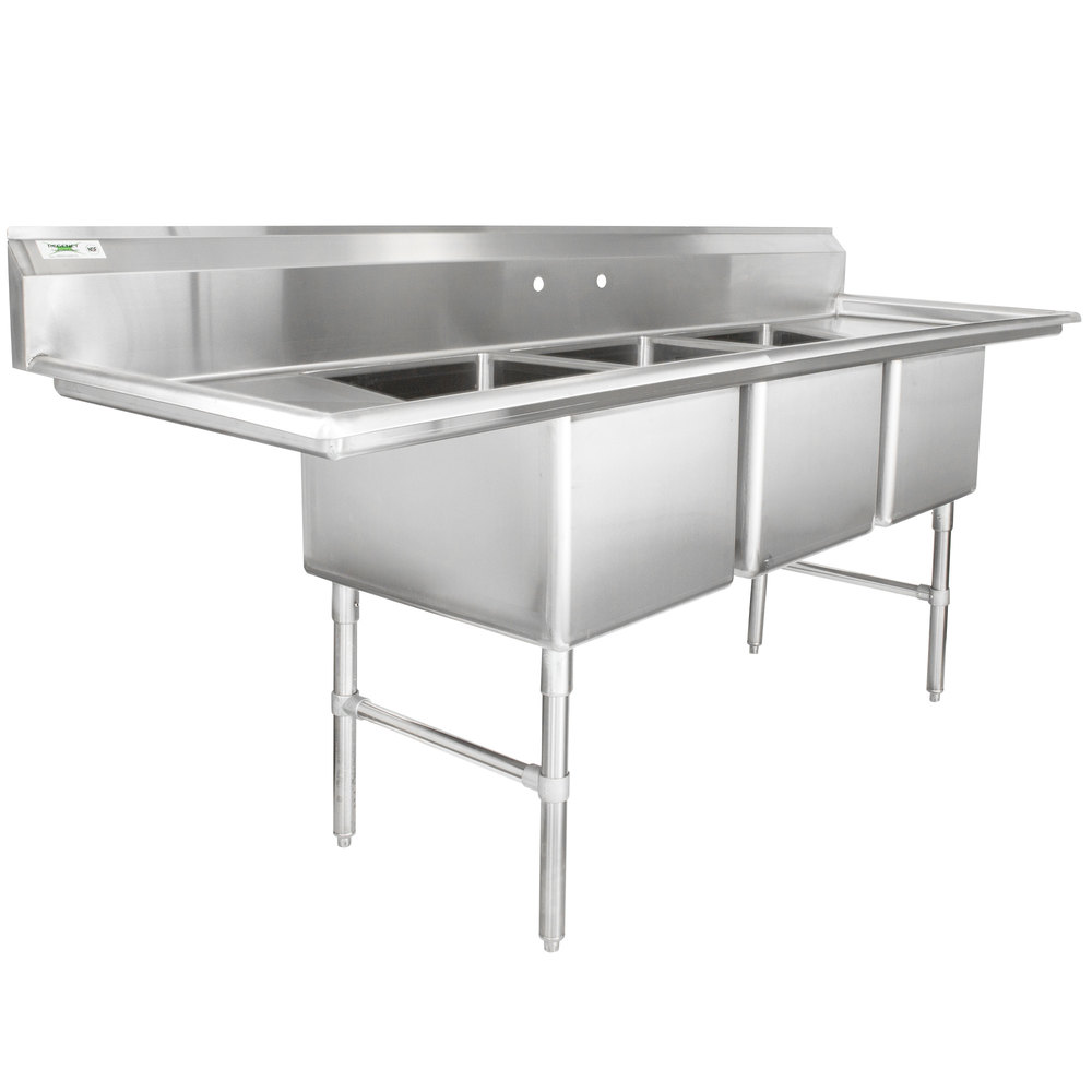 Regency 94 16 Gauge Stainless Steel Three Compartment Commercial Sink With 2 Drainboards 18