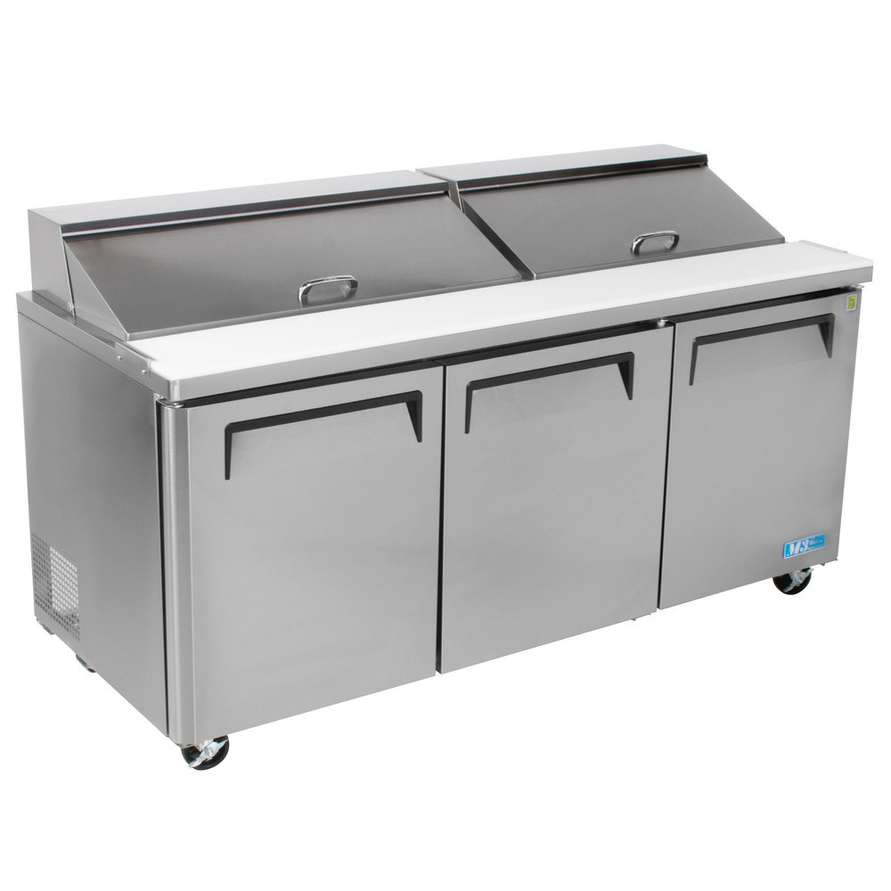 """turbo air mst-72 72"""" 3 door refrigerated sandwich prep table"""