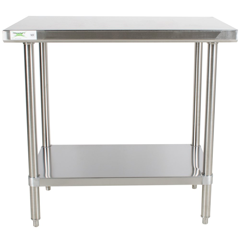 Regency 24 inch x 36 inch 16-Gauge 304 Stainless Steel Commercial Work Table with Undershelf