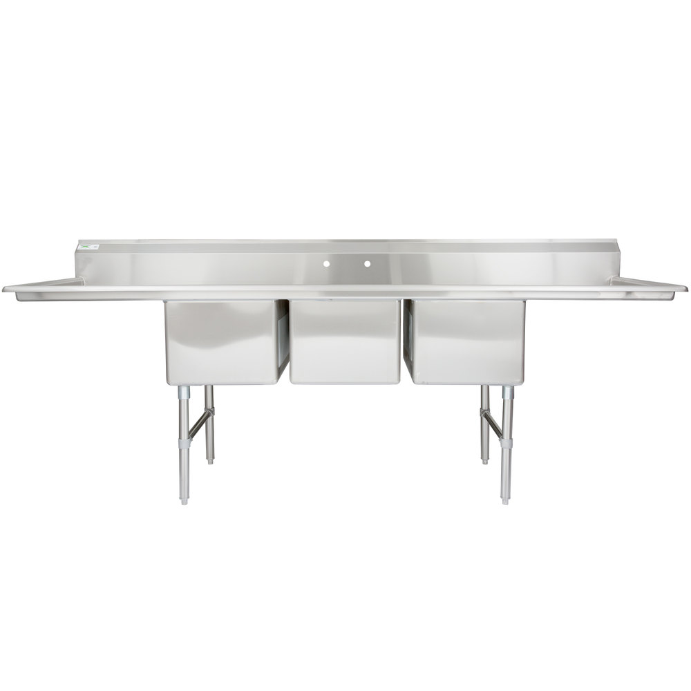 Regency 106 inch 16-Gauge Stainless Steel Three Compartment Commercial Sink with 2 Drainboards - 18 inch x 24 inch x 14 inch Bowls