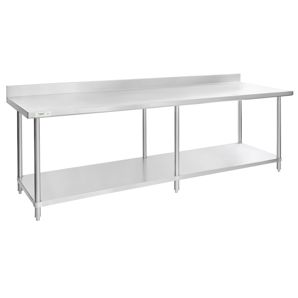 Regency 30 inch x 96 inch 16-Gauge Stainless Steel Commercial Work Table with 4 inch Backsplash and Undershelf