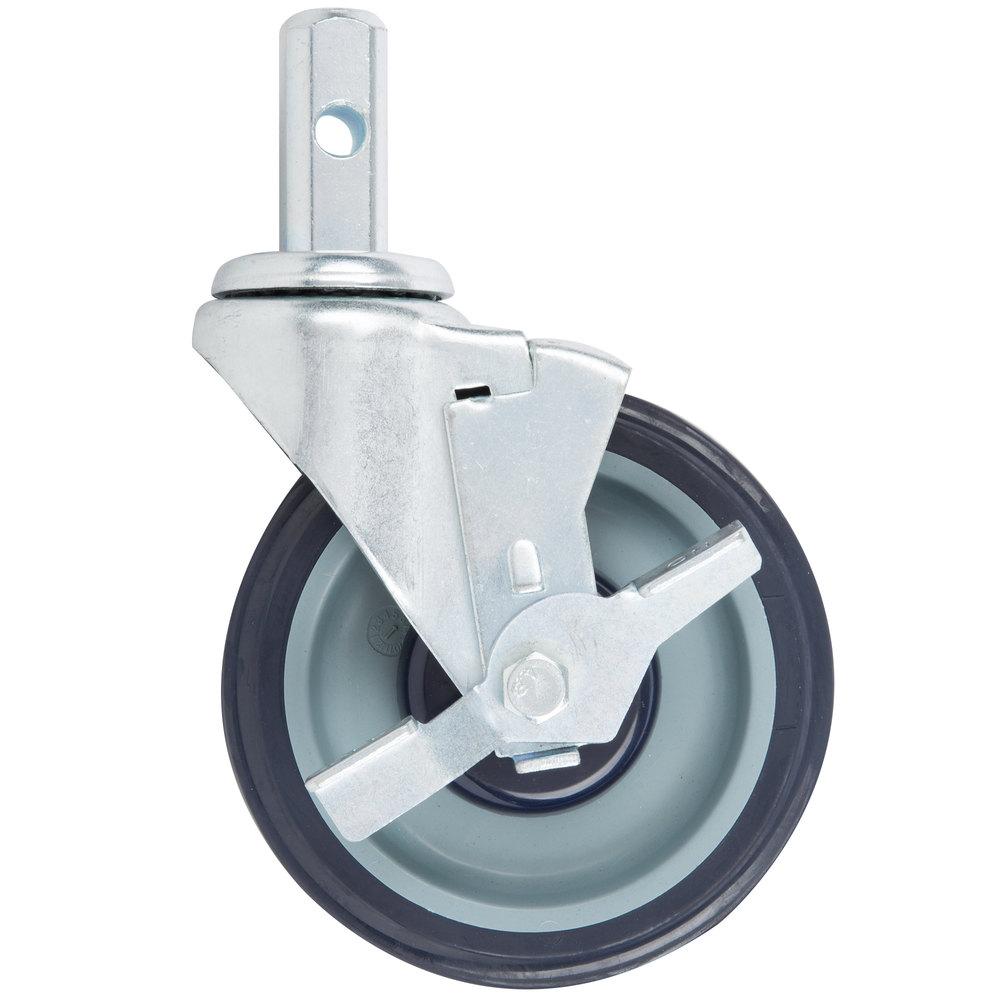 Regency 5 inch Polyurethane Swivel Stem Caster With Brake for Sheet Pan Racks