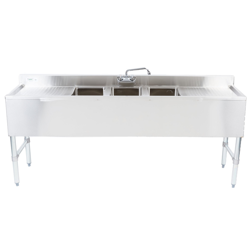 Regency 3 Bowl Underbar Sink with Faucet - 38 1/2\