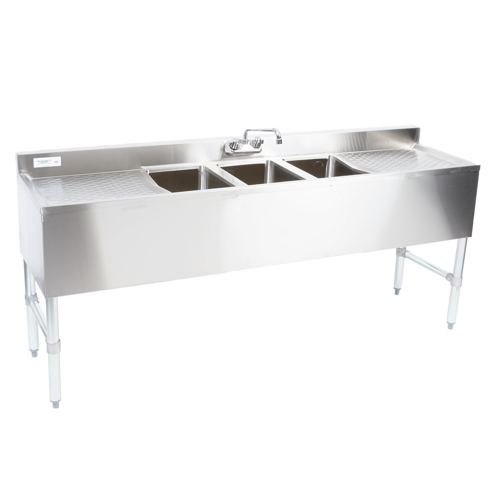 Regency 3 Bowl Underbar Sink with Faucet and Two Large Drainboards - 72 inch x 18 3/4 inch