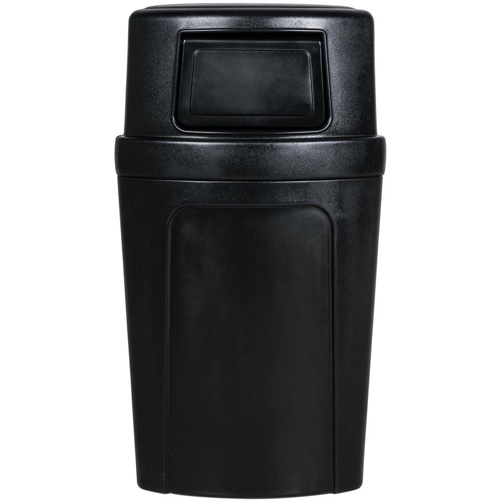Continental 8325bk corner 39 round 21 gallon black corner trash can with dome lid - Corner wastebasket ...